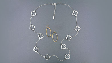 Lavishy design & wholesale cheap chic silver and 12k gold plated earrings and necklaces