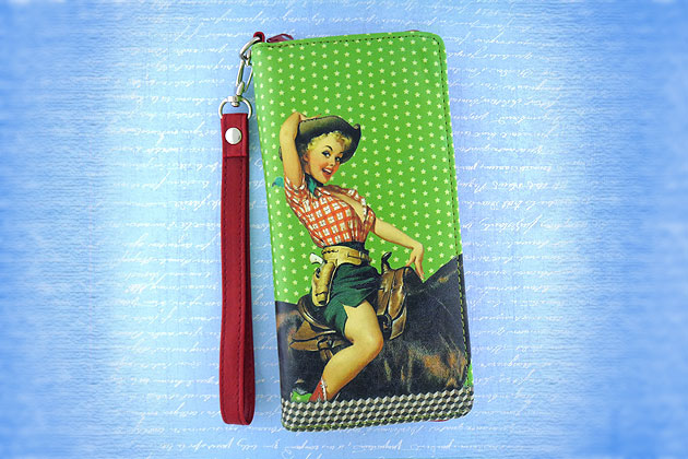 lavishy design & wholesale retro pin up girl themed vegan wristlets, coin purses and luggage tags